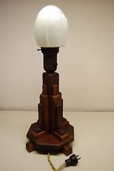 Art Deco Industrial Wood Glass Arts And Crafts Vintage Antique Table Desk Lamp