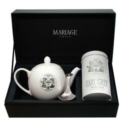 Mariage Freres - DÉgustateur™ Teapot And Tea Caddy Spoon Set Earl Grey French Blue