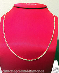 Mens Womens Ladies 10k Yellow Gold Necklace Hallow Rope Chain 2mm 16 Inch Hollow