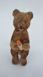 Vintage 1960and039s Wind-up Russian Ussr Plush Bear Toy