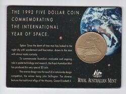 1992 5 Unc Coin International Year Of Space Sky Stars Universe Planet Space