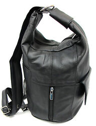 Large Special Design Genuine Leather Two in One Backpack Sling Bag Purse Blk Brn $29.99