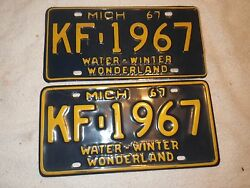Vintage 1967 Michigan  License Plate Corvette Chevy Ford Olds Buick
