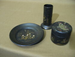 Antique Japanese Chinoisiere Paper Mache - Plate, Pencil Holder And Box
