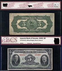 1939 5 Imperial Bank Of Canada - Chartered Canadian Banknote