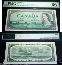 Asterisk Replacement H/f Bank Of Canada 1954 1 -pmg Certified 66