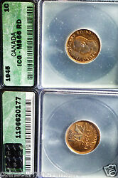 Canada 1945 Icg Ms66 Small Cent Red