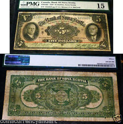 Large Chartered Banknote - Bank Of Nova Scotia - 1929 5 - Certified Banknote