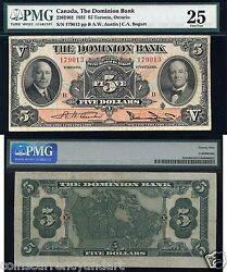 The Dominion Bank Pmg 25 1931 10 Beautiful Chartered Banknote