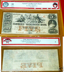 Tennessee Obsolete Currency Farmers And Merchants Bank 1854 5