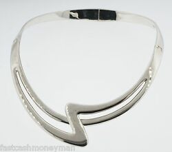 Vintage Taxco Mexico Sterling Silver Solid Curved Zig Zag Choker Necklace
