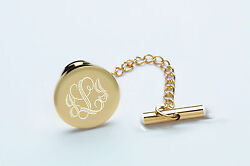 Personalized Gold Stainless Steel Tie Pin Tack With Chain Custom Engraved Free