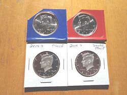 2014 P D S S Silver And Clad Proof Kennedy Half Dollar 4 Coin Set Mint Cello Pdss