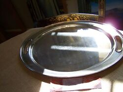 Hotel Silver Holloware Handled Waiter Tray - Shabby Chic - Our Finethings4sale