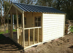High Quality Premium Timber Summer Lodge Pressure Treated Steel Roof Heavy Duty