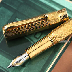 Montegrappa Reminiscence Etched 925 Vermeil Small Fountain Pen - Rare