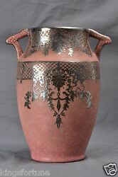 Weller Pottery Vase Pink With Silver Overlay 1930and039s