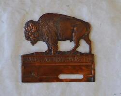 1940 Canadaand039s National Parks Copper Buffalo License Plate Tag Topper Original
