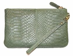 New Mighty Purse Leather wristlet inc Power Charger for all phones Reptile Green