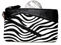 New Mighty Purse Leather wristlet with Power Charger for all phones Zebra fur