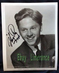 Mickey Rooney Signed 8x10 Vintage Photo Young Tom Edison - Signed In 1997