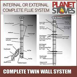 Twin Wall Flue Pipe Complete System For Multifuel Wood Burning Stoves Black