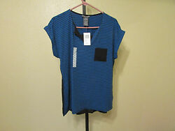 NWT Chelsea & Theodore Womens Striped Open V-Neck T-Shirt-BlueBlack-Size-Large