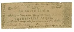 1862 25 Cents The County Of Alleghany Virginia Banknotes Circulated Rare