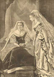 Queen Victoria And Princess Louise Opening Of Parliment 1871 Antique Art Print