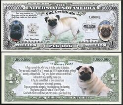 Lot Of 500 Bills - Pug Million Dollar Dog Bill Puppy And Adult Pics, Facts On Back