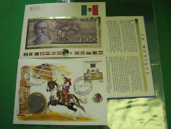 Mexico Mali Banknote Unc And Stamp First Day Cover Mint Presentation Set French