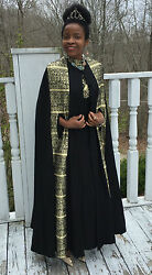 Mint Designer Full Length Black And Gold Cape Poncho Shawl Coat And Dress Gown M 4-9