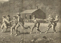 Winslow Homer Snap The Whip With Text Vintage 1873 Antique Art Print. Rare