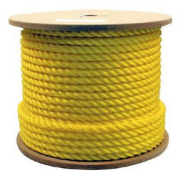 3/4 X 600and039 Yellow Poly Rope - 3 Strand Twisted Polyproplyene