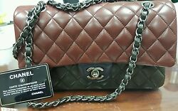 Chanel classic double flap tricolour limited edition lamb leather medium navy
