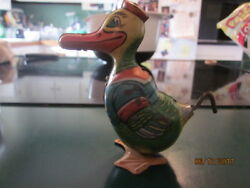 Vintage Chein Wind-up Duck Toy Tin Litho 1950s