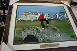 Jack Nicklaus Framed 16x20 Photo From St. Andrews British Open On Bridge Pose