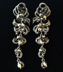 Earring Made With Crystal Dangle Drop Wedding Bridal Fancy Gray Party