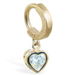 TummyToys 14K Yellow Gold Heart CZ Belly Button Ring Sexy snap on body jewelry