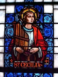 +nice Old Church Stained Glass Window Of St. Cecilia+ Shipping Available +