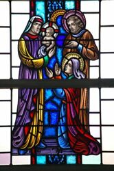 + Nice Figural Stained Glass Window 15and039 Tall X 4and039-6w. 3 Of 12 + Chalice Co.