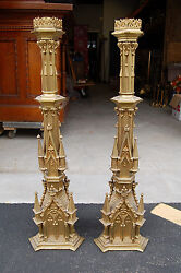 + Pair Of Vintage Ornate Gothic Candlesticks + 35 Ht. + 831 + Chalice Co.