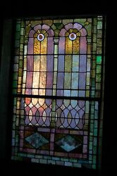 + 120 Year Old Opalescent Stained Glass Window, 38 W X 66 Ht. + Chalice Co.o