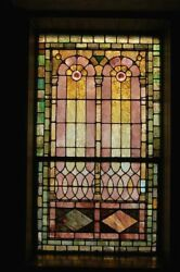 + 120 Year Old Opalescent Stained Glass Window, 34 W X 65 Ht. + Chalice Co.n
