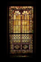 + 120 Year Old Opalescent Stained Glass Window 34 W X 65 Ht. + Chalice Co.m