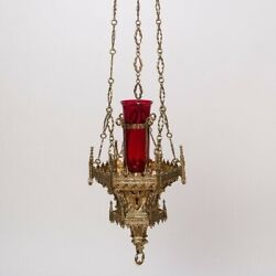 Worlds Best Brass French Gothic Church Sanctuary Lamp And Globe 16