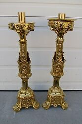 + Pair Of Ornate Antique Altar Candlesticks + 25 1/2 Ht + Chalice Co. 957