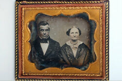 Antique Sixth Plate Daguerreotype Of Couple In Embossed Leather Case