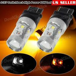 1Pair LED Switchback light Bulb 3157 High Power Cree 60W 780LM AmberWhite 7000K