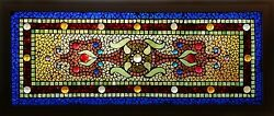 One of a pair of Antique American Belcher Mosaic Stained+Jeweled Glass Windows